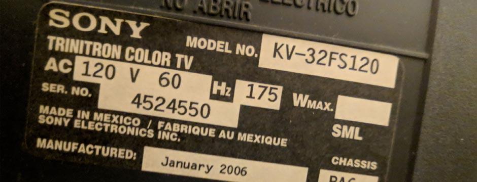 کد محصول تلویزیون سونی برای تشخیص تلویزیون سونی اصلی از تقلبی