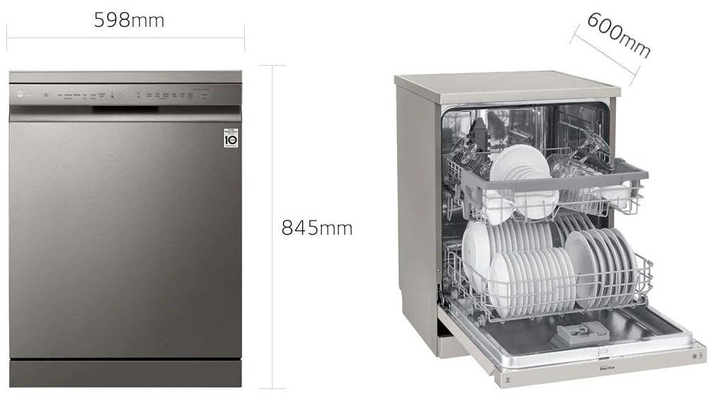 ابعاد دستگاه ظرفشویی ال جی 14 نفره DFB512