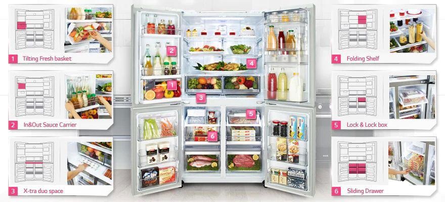 ذخیره سازی هوشمند مواد غذایی در یخچال ال جی ساید بای ساید J267