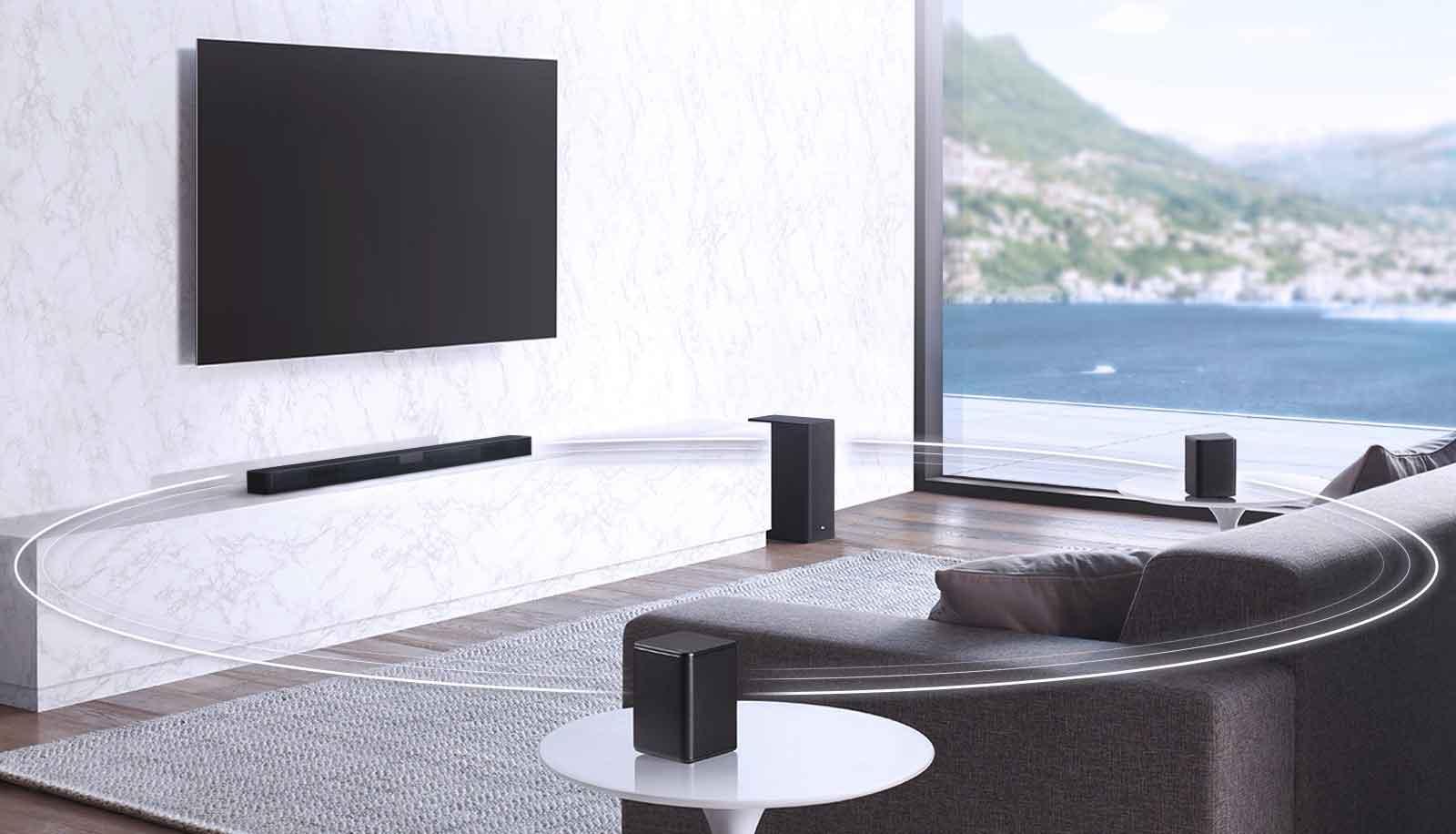 قابلیت همگام سازی با دیگر سیستم های صوتی ساندبار ال جی SL5