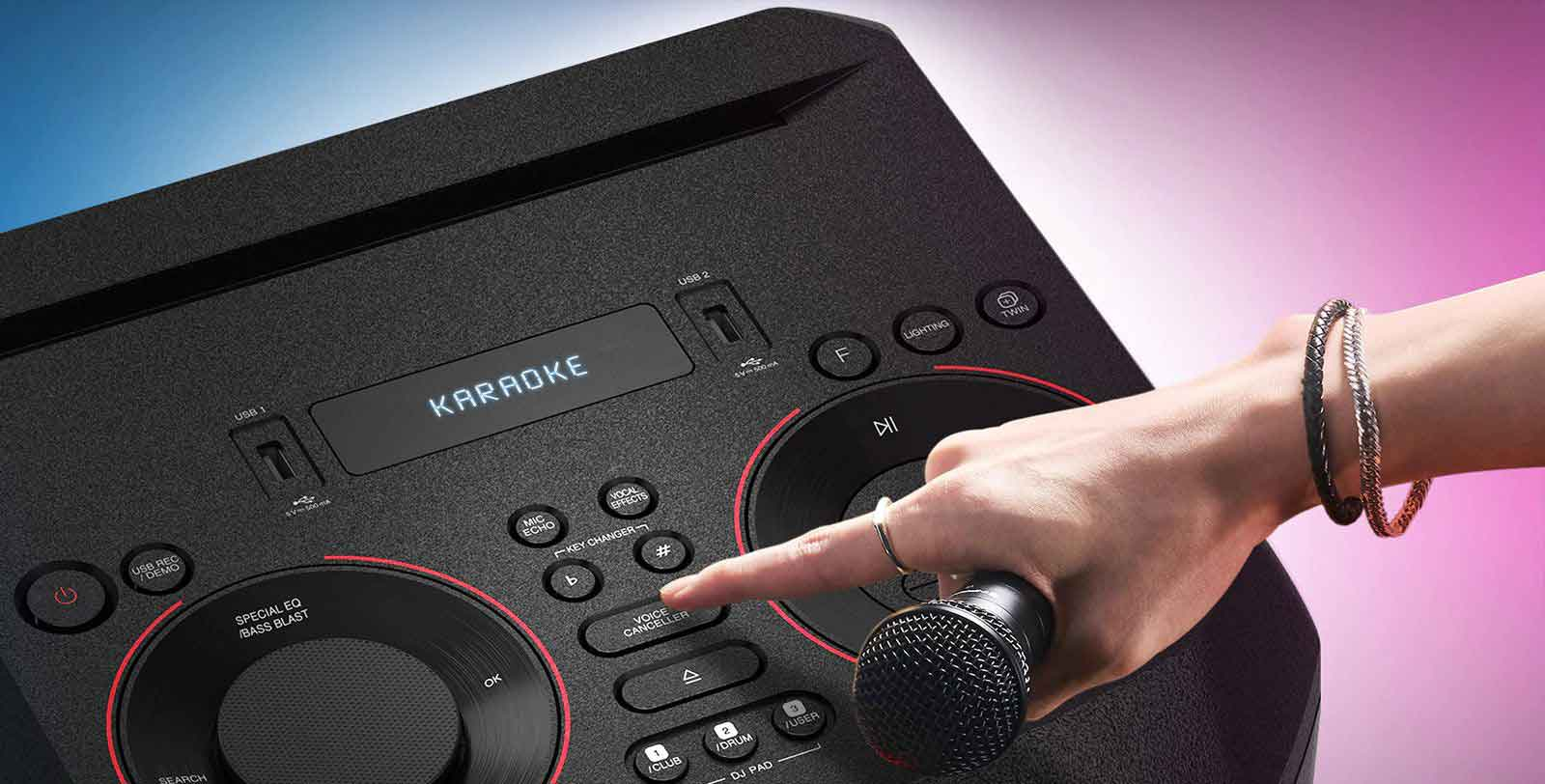 قابلیت کارائوکه سیستم صوتی ال جی xboom on5
